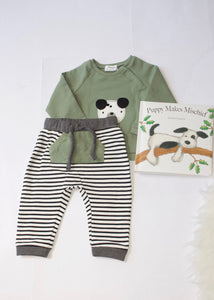 boys 2 piece stripe pant & puppy top