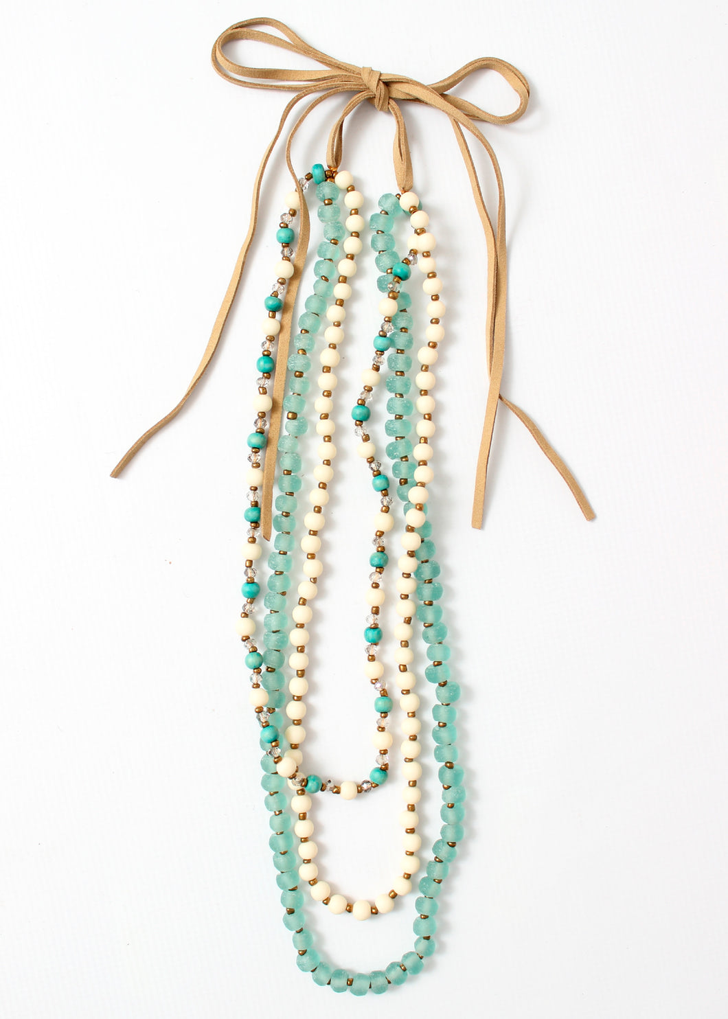 3 strand long bead necklace