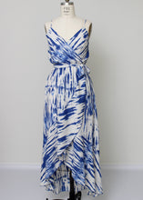 Load image into Gallery viewer, blue and white wrap hi lo dress