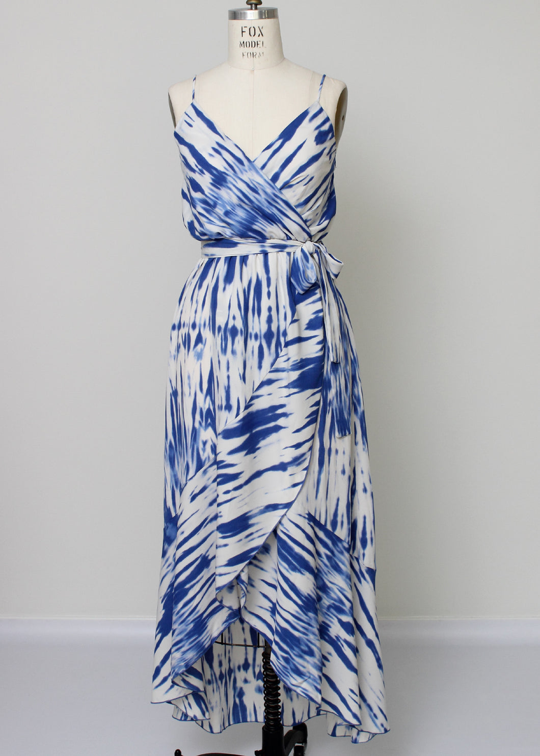 blue and white wrap hi lo dress