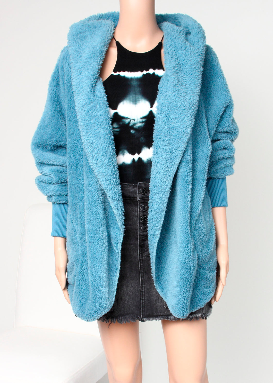 cozy hooded teddy jacket