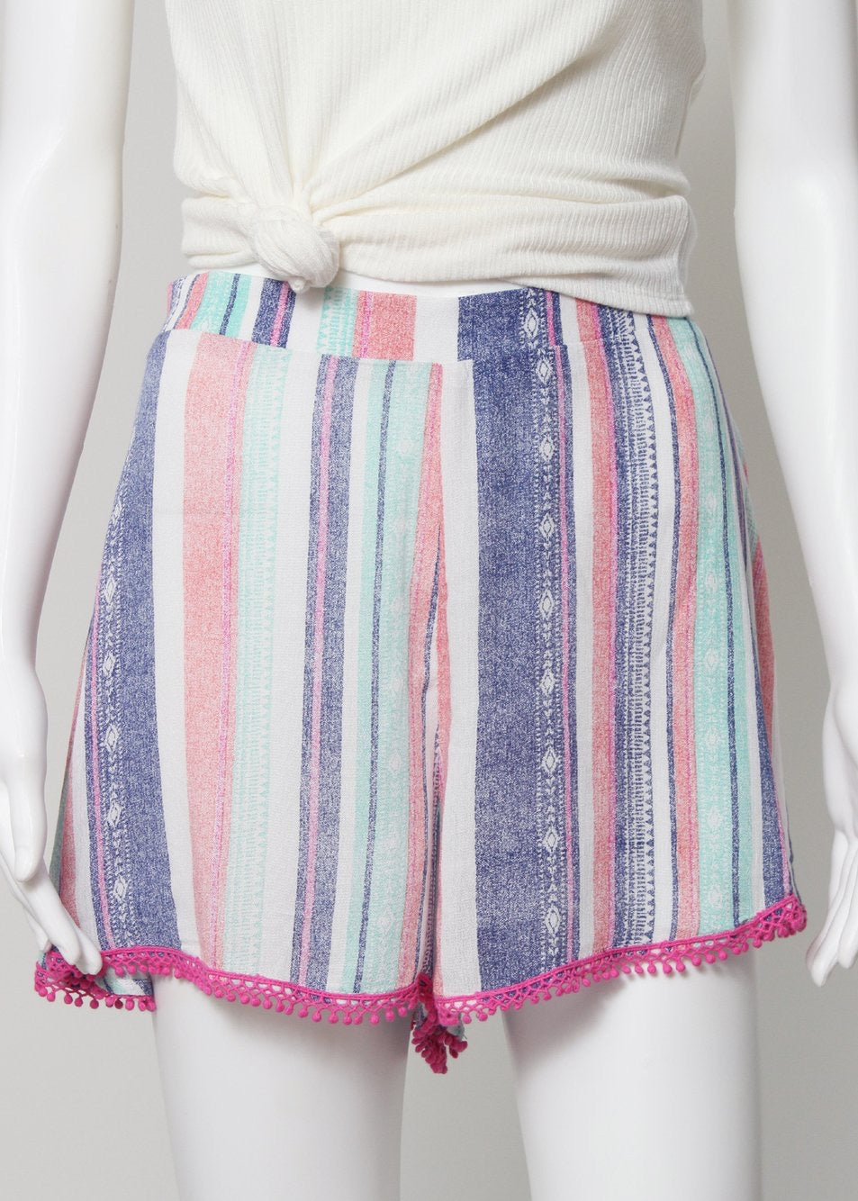 stripe shorts with pom trim