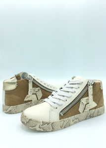 high top sneaker with snake print
