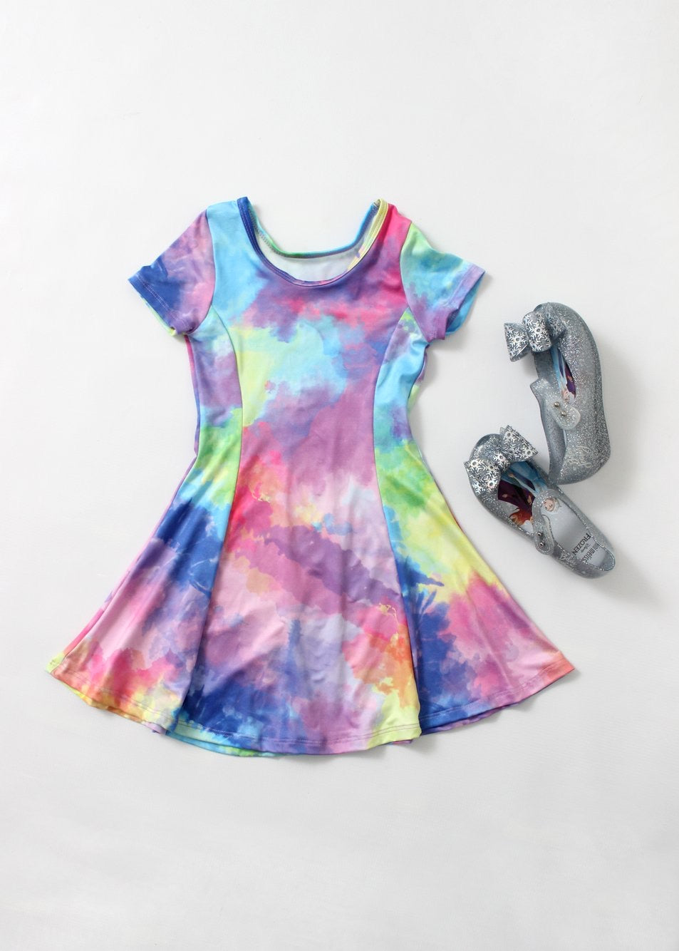 tie dye fit & flare dress-girls