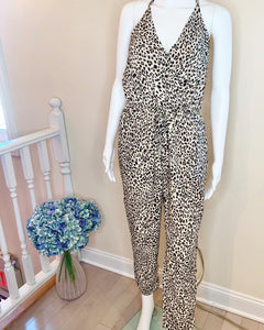 strappy leopard jumpsuit