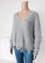Load image into Gallery viewer, distressed v neck sweater