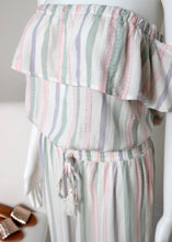 Load image into Gallery viewer, pastel stripe off shoulder jumpsuit