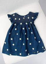 Load image into Gallery viewer, girls embroidered daisies denim dress