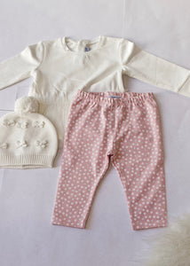 girls 3 piece dot legging, top & vest