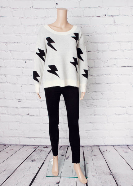 crew neck lightening bolt sweater