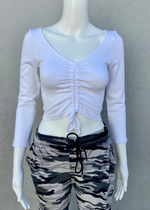 long sleeve ruched rib crop top