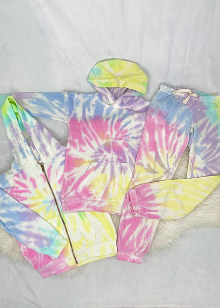 tween sunshine tie dye crop jogger