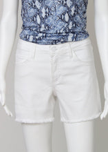 Load image into Gallery viewer, white denim shorts-hi rise fray hem