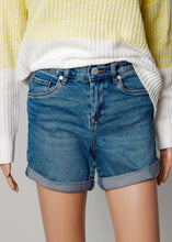 Load image into Gallery viewer, high rise roll denim shorts