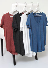 Load image into Gallery viewer, short sleeve v neck knit tee