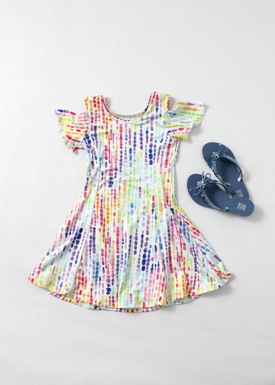 multi color fit&flare dress-girls