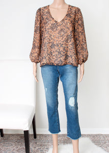 v neck speckle shimmer blouse
