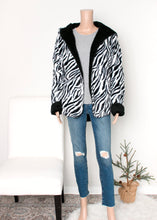 Load image into Gallery viewer, reversible hoodie bear jacket - zebra