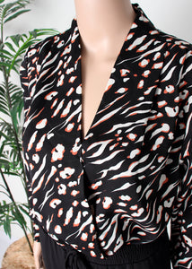 surplice tiger print blouse