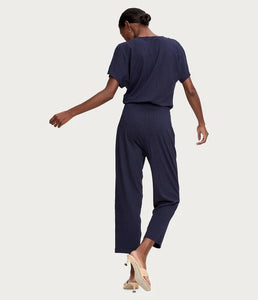 short sleeve surplice jersey jumpsuit
