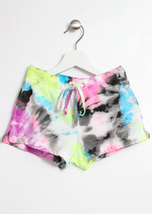 french terry shorts tie dye-girls