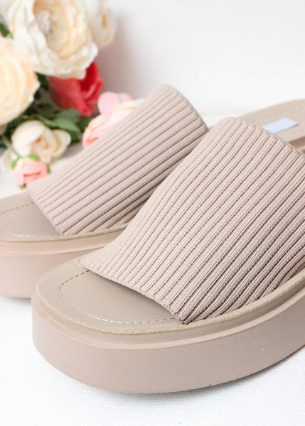 knit wedge slide sandal