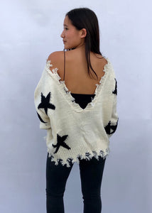 v-neck distressed star sweater