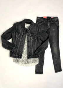 girls star patch denim skinny