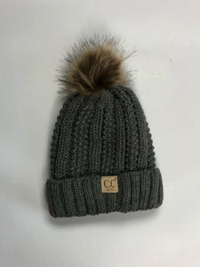 kids lined fur pom  beanie