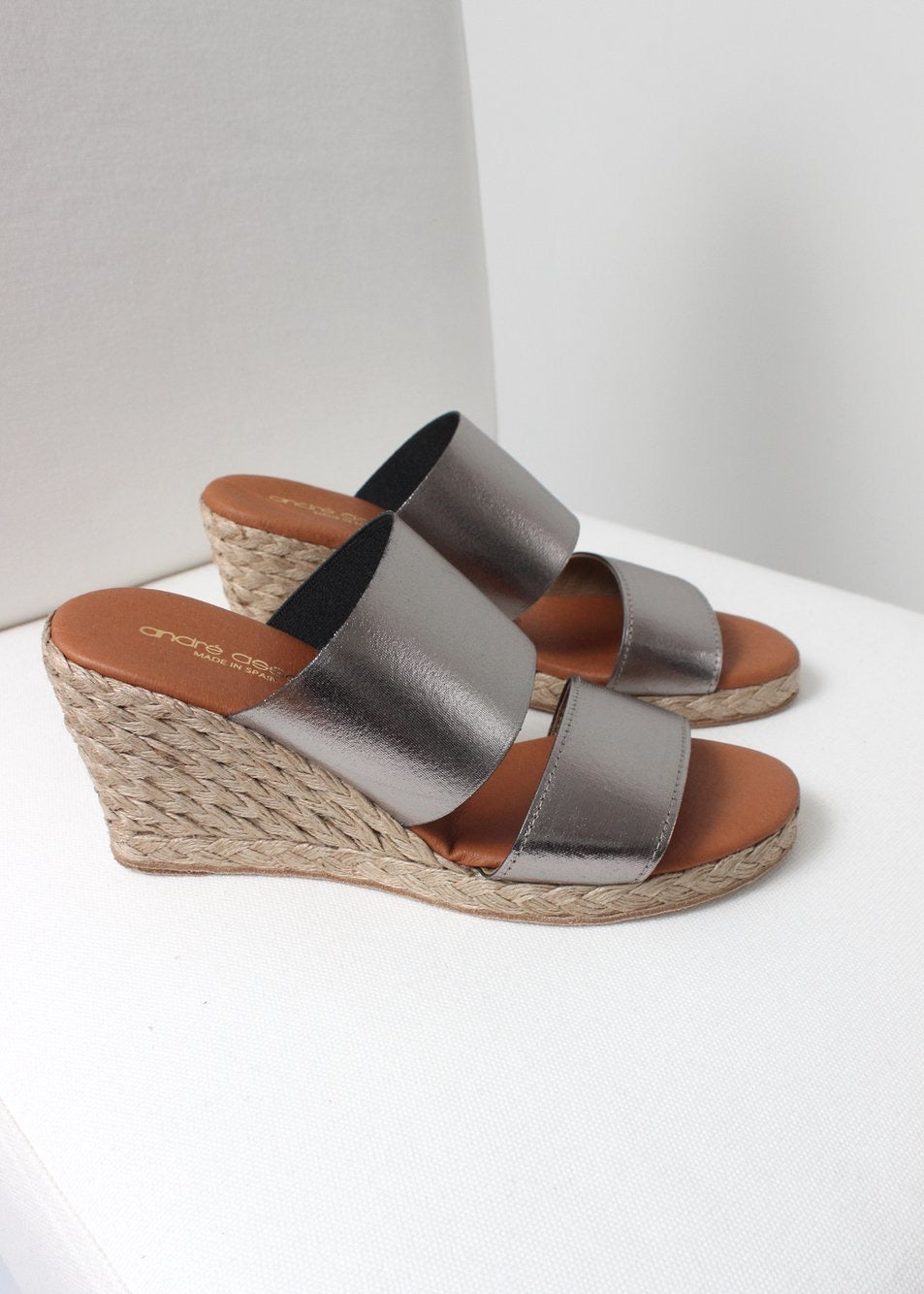 metallic stretch wedge sandal
