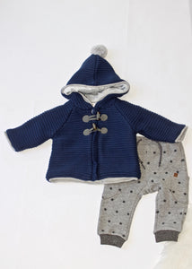 boys hooded lined knit toggle cardigan