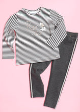 Load image into Gallery viewer, girls ponte side stripe legging