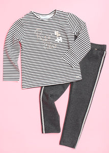 girls ponte side stripe legging