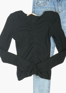 girls rib ruched front top