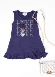 girl jersey ruffle tank dress love