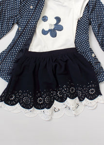 2 pc daisy tee & skirt set - girls