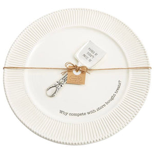 sweets round plate & server