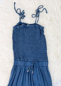 tween smocked chambray jumpsuit