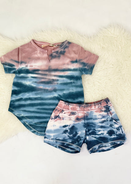 tween sunset tie dye shorts