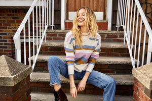 multi stripe mock neck sweater