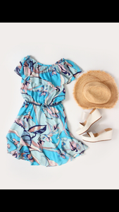 off shoulder print dress