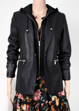 Load image into Gallery viewer, faux leather hoodie blazer