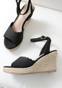 scalloped espadrille wedge
