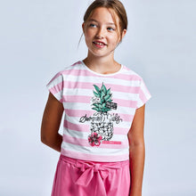 Load image into Gallery viewer, girls pink stripe tee & short set