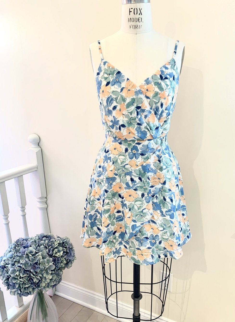 blue & peach floral dress