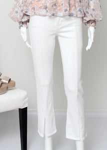 white denim jean with slit