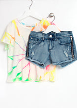Load image into Gallery viewer, neon tie dye tee-girls