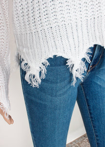 distressed v neck sweater