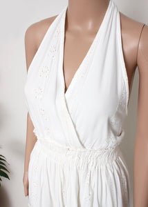 eyelet trim halter dress