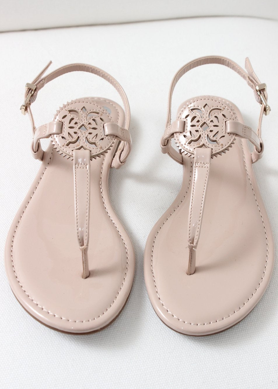 patent leather nude thong sandal